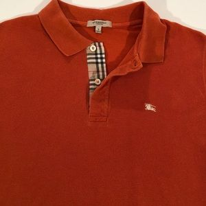 BURBERRY Men's ORANGE + NOVA S/S POLO SHIRT SMALL